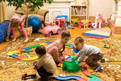 kids at kindergarten playing