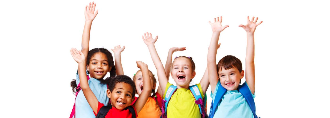 group of kids raising hands
